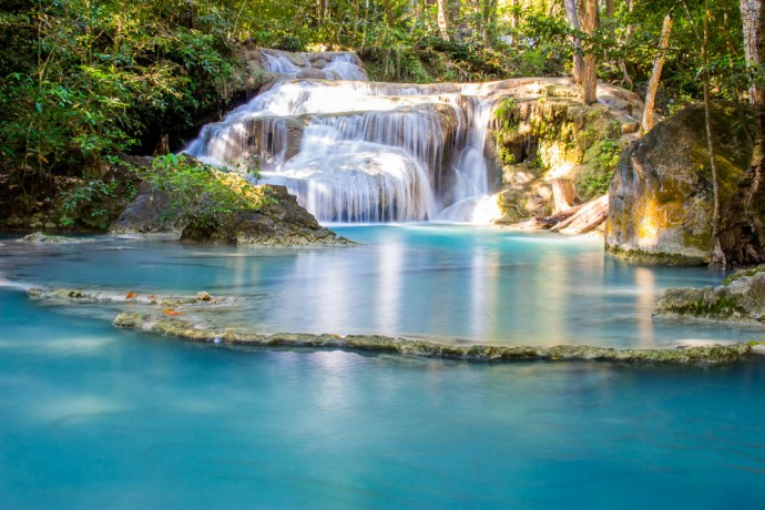 One of the seven stages at Erawan Waterfalls.