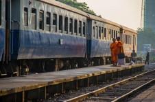 Buddhist Monks waiting for the train to Kanchanaburi.