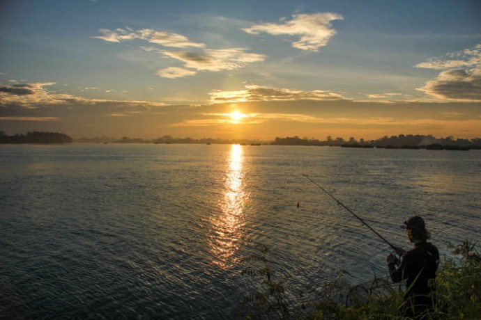 Some morning fishing on a remote Mekong Island.
