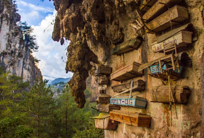 The hanging coffins in Echo Valley, Sagada.