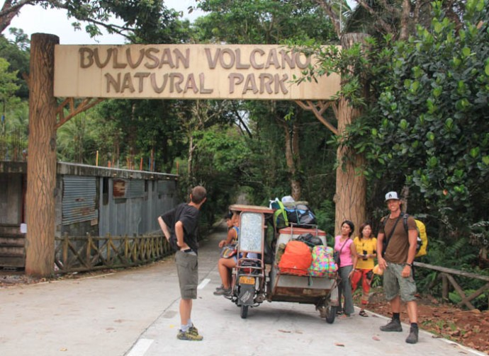 Arriving at Bulusan Park to set up camp.