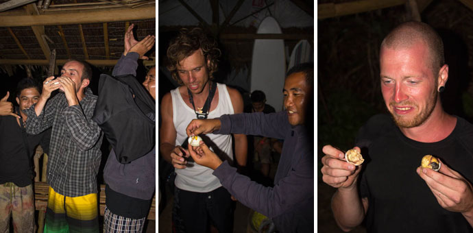 The BLC-Crew eating the Balut. Good thing we were pretty drunk at that point.