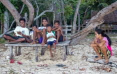 Some villagers at the beach. Very shy but friendly.