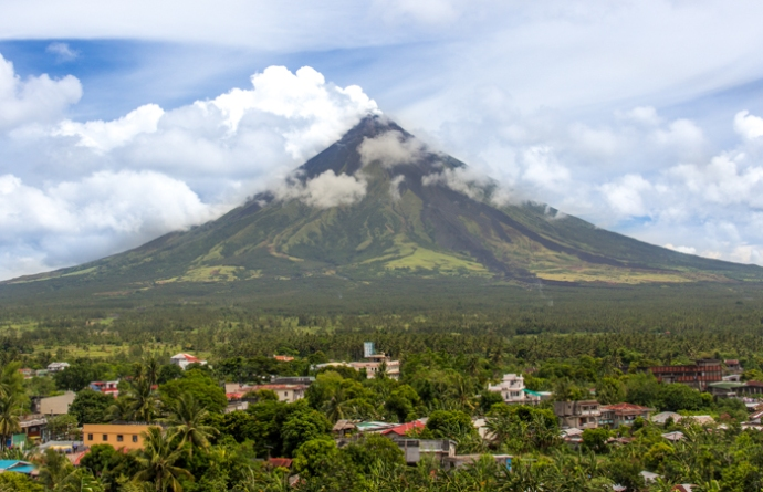Smoking Mt. Mayon on May 9th seen from Darag Church, Legazpi.