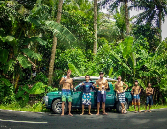 After surfing one of the local reefs. From L to R: Me, Bidge, Momo, Coco, Ayie, Marco