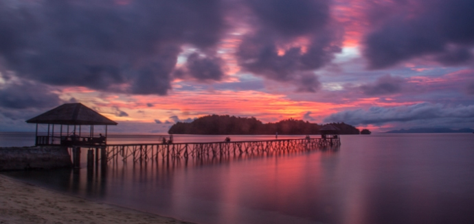 Sunset on Kadidiri, Togean Islands.