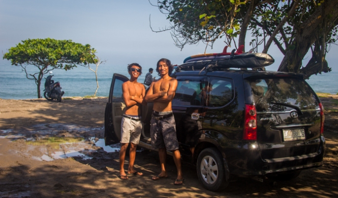 After a successful surf session.