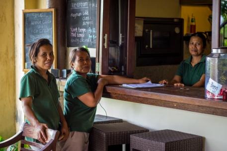 The three friendly staff ladies.