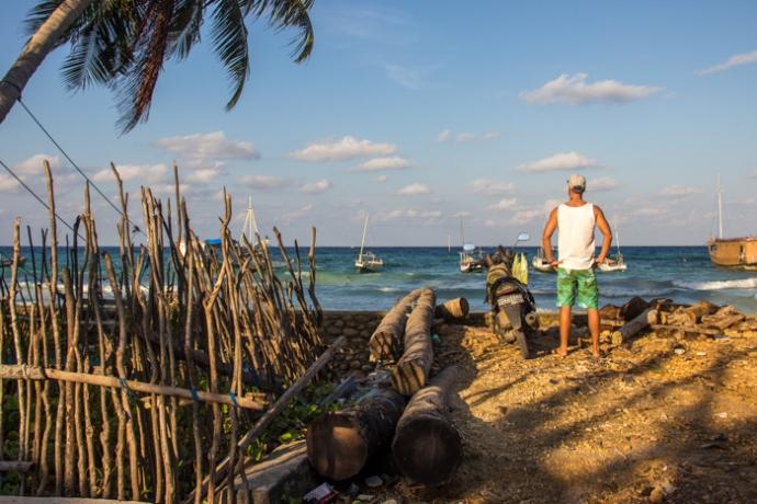 In the fishermen village.