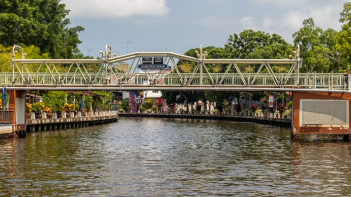 One of the many bridges over the Malacca River