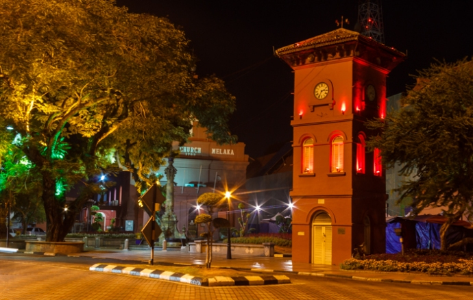 The old clock tower on Dutch Square.