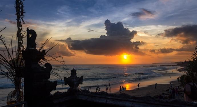 Sunset at Batu Bolong Beach.