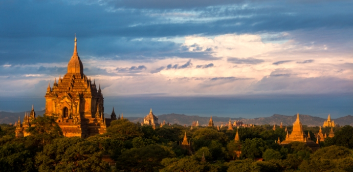Temples casting their shadows over the Bagan Plains.