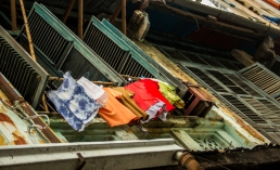 Drying Clothes on the bamboo pole.