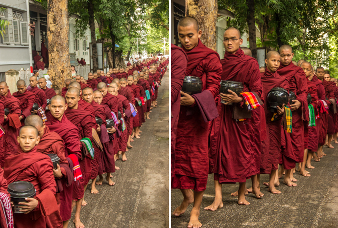 Monks lining up to receive their food donations.