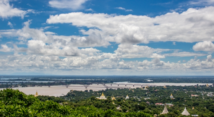 The Ayeyarwady River and Sagaing Bridge.