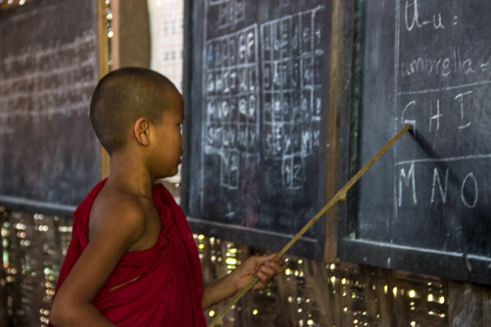 Also novice monks attend the local school.