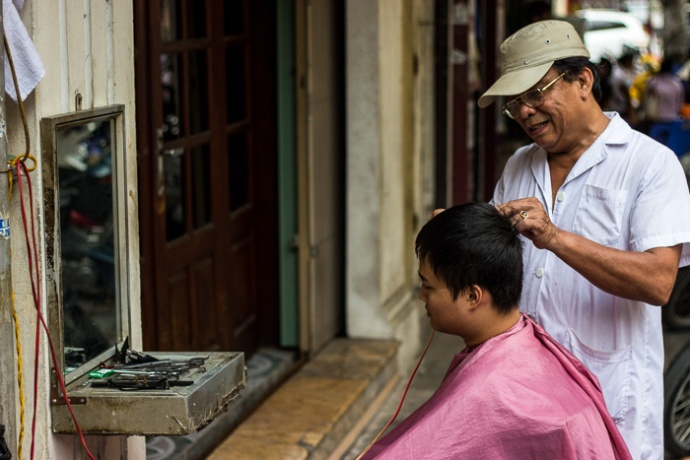 Getting a haircut in Hanoi