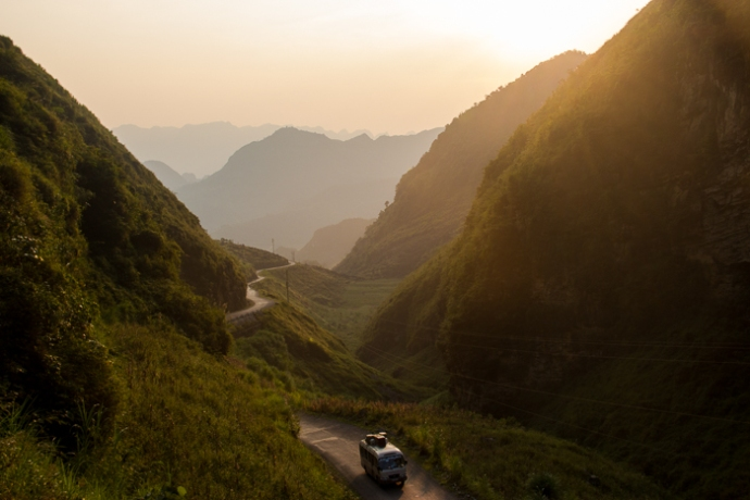 Sunset in the mountains of far Nortern Vietnam, close to China.