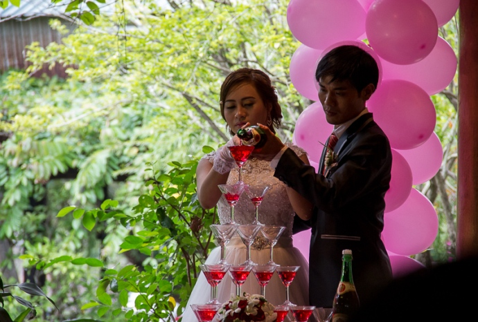 Champaign pyramid at wedding Hue, Vietnam