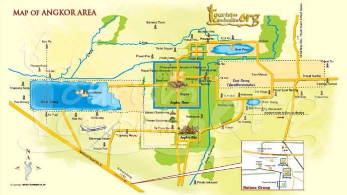 Map of Angkor, Siem Reap, Cambodia