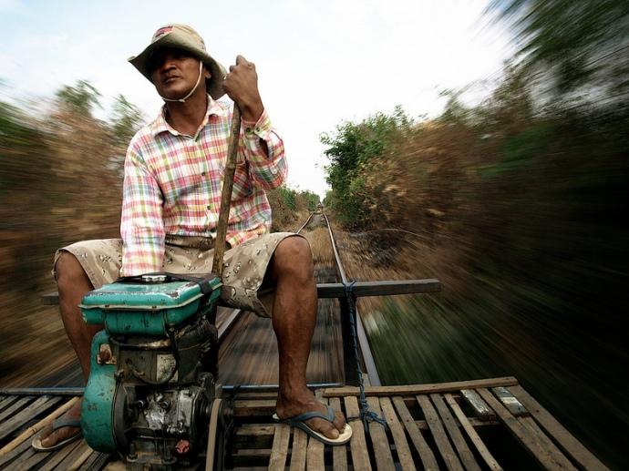 Bamboo Train Driver, Battambang