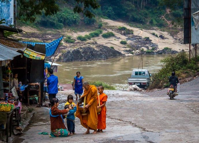 monks in Pakbeng, laos