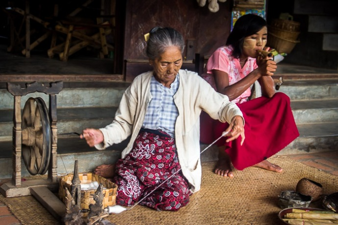 Traditional weaving Bagan Myanmar
